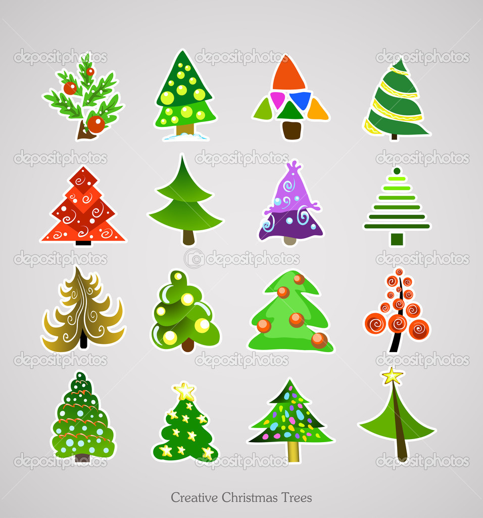 Christmas Tree Icon. Illustration Vector Xmas Set