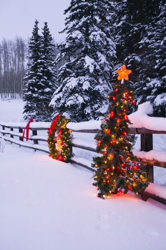 Christmas Holidays, Colorado, decorations along split wood rail fence.