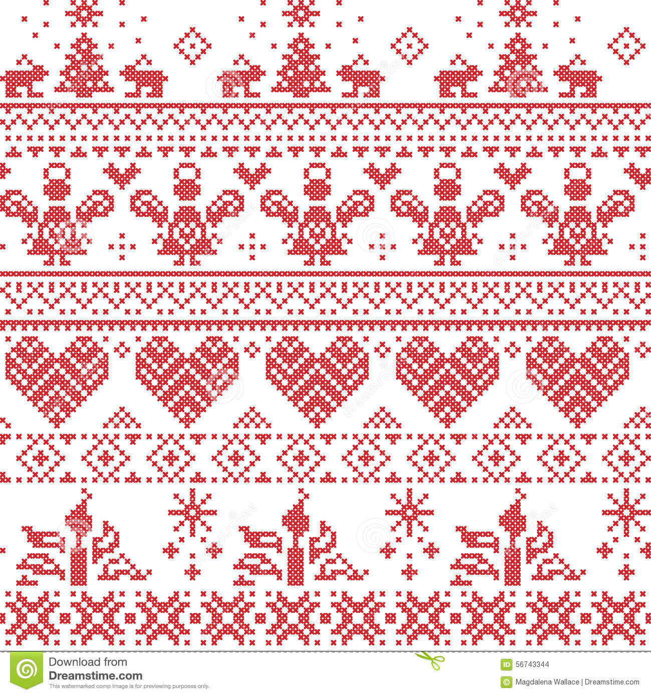 scandinavian-nordic-christmas-seamless-cross-stitch-pattern-angels-xmas-trees-rabbits-snowflakes-candles-white-red-56743344
