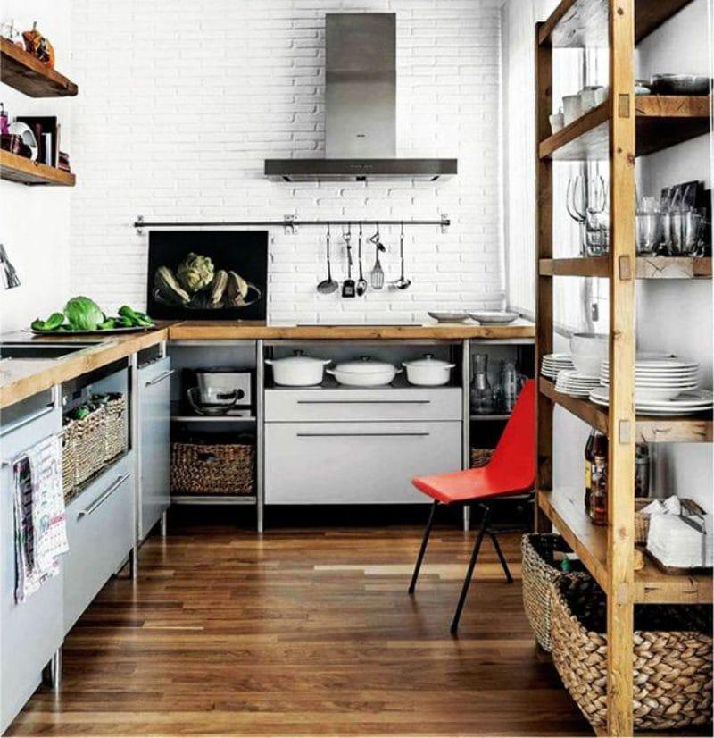 Деревянный-пол-на-кухне-в-стиле-лофт