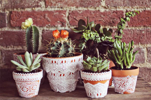 Lace-flower-pots