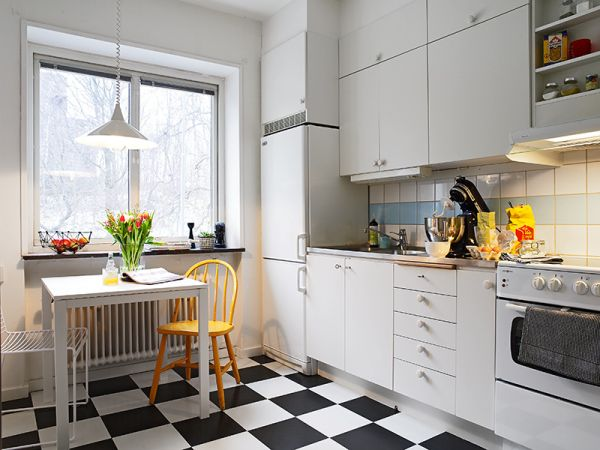 checkerboard-floor-scandinavian-kitchen