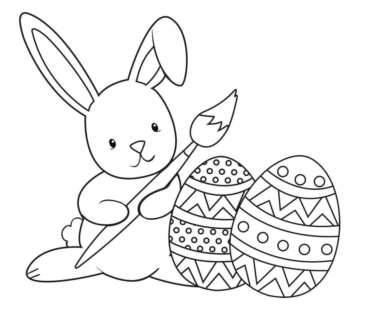 Mrs Bunny With A Basket Of Easter Eggs Coloring Page: Великодні розмальовки для дітей