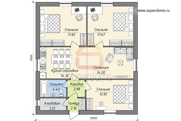 plan-odnoetazhnogo-doma-10-11-s-3-spalnyami