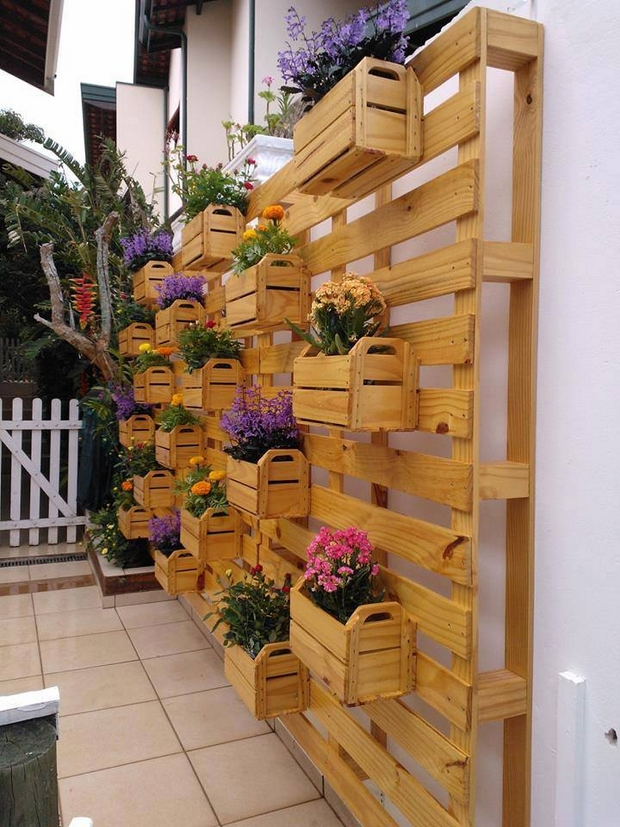 vertical-pallet-garden-varnished-wood-white-wall-backyard-patio-decoration