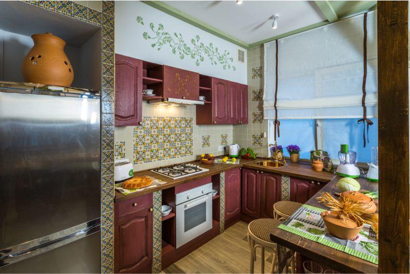 П-образная-кухня-на-даче