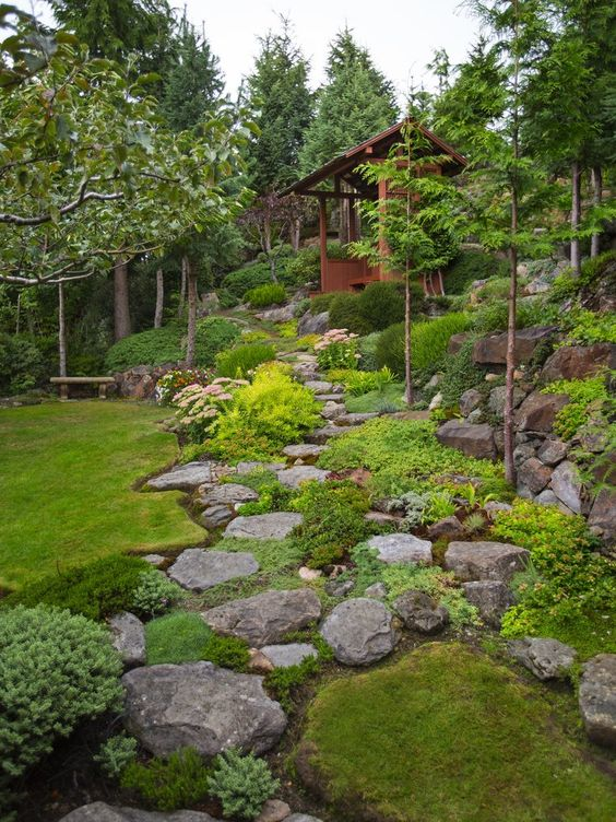 Gary Necci placed each rock in this hillside garden himself. A pergola sits about halfway up the steep hillside.  This is a very steep and rocky garden with lots of ground cover/alpines/collectors plants. It is all about the steep back hillside where Gary Necci has created something pretty remarkable in his West Seattle back garden. This view looks up from the bottom of the back garden.