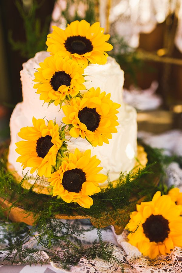 simple-cream-wedding-cake-with-yellow-sunflowers
