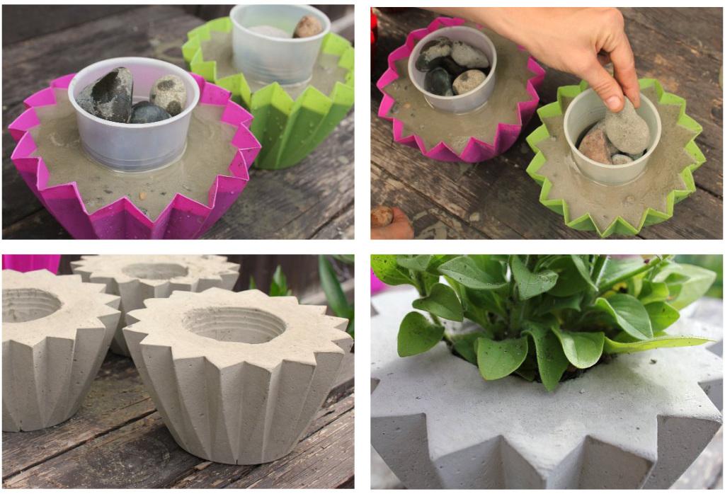 Как сделать бетонные вазоны для сада