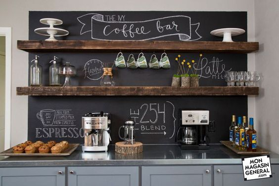 Fixer Upper Hosts Chip and Joanna Gaines transformed the casual dining space off the kitchen into the Ivy Family Coffee Bar, a place for family and friends to gather for eating and entertaining.  Chalk board paint on the wall creates a café-like atmosphere.  New cabinets offer plenty of storage, and the floating shelves correspond with the wood support beams in the open-concept living area, as seen on HGTV's Fixer Upper.  (detail)